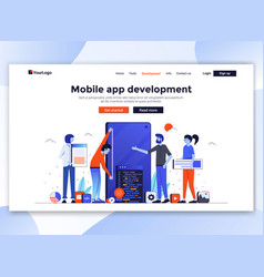 flat modern design website template - mobile vector image