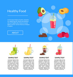 Flat smoothie elements landing page vector