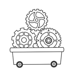 Gears in wagon icon vector
