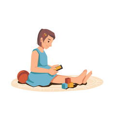 girl sitting on floor around toys uses smartphone vector image