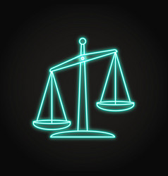 glowing scales icon in neon line style vector image