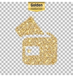Gold glitter icon of wallet isolated on vector
