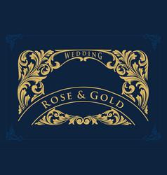 golden border swirl collection wedding luxury vector image