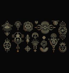 golden set mystical magic symbols vector image