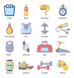 gym sport icons set cartoon style vector image