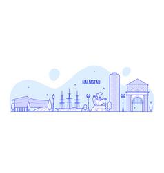 halmstad skyline halland swedish city line vector image