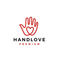 Hand love palm care heart logo icon vector