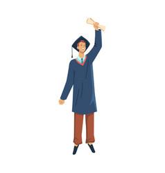 happy man graduated student celebrate graduation vector image