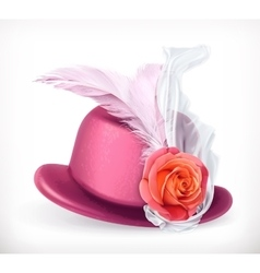 Hat with rose and feathers vector