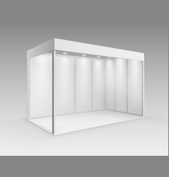 Indoor trade stand for presentation with spotlight vector
