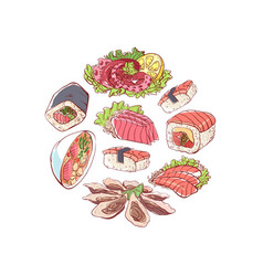 japanese cuisine poster with asian dishes vector image