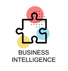 jigsaw icon for business intelligence on white vector image