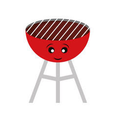 kawaii barbecue grill vector image