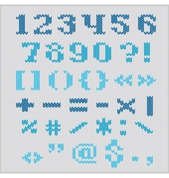 Knitted alphabet blue bold serif numbers vector image
