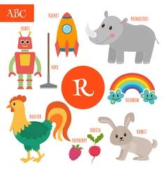 Letter R Cartoon alphabet for children Radish vector