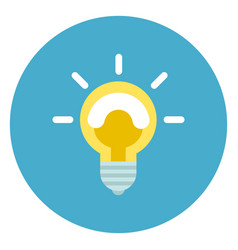 Light bulb icon on round blue background vector