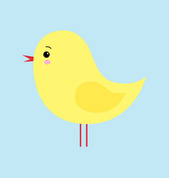 little cute yellow cartoon chick isolated on a vector image