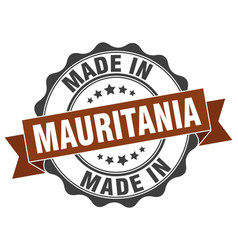 Made in mauritania round seal vector