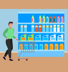 Man buying meal and products at groceries store vector