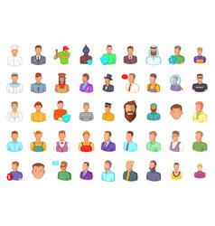 man silhouette icon set cartoon style vector image