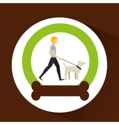 Man walking a white dog vector