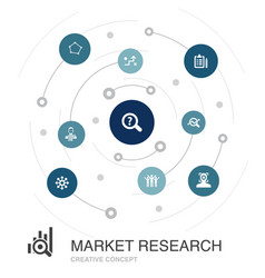 Market research colored circle concept with simple vector