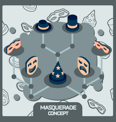 masquerade color concept isometric icons vector image