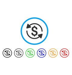 money turnover rounded icon vector image vector image