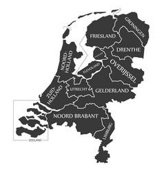 Netherlands map labelled black vector