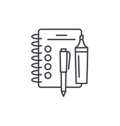 notebook line icon concept notebook linear vector image