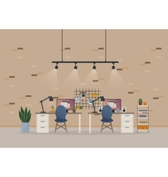 Office open space cabinet or basement work room vector