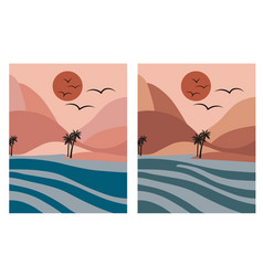 Pink romantic beach with palm trees and blue sea vector