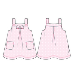 Pink sundress with polka-dot pattern vector