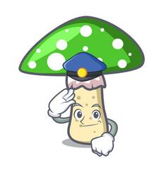 Police green amanita mushroom character cartoon vector