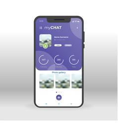 Purple chat profile ui ux gui screen for mobile vector