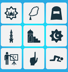 Religion icons set with tower church hijab and vector