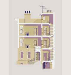 Residential building with interior exposed vector