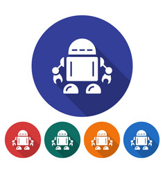 Round icon of robot flat style with long shadow vector