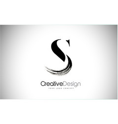 s brush stroke letter logo design black paint vector image