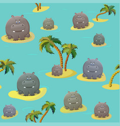 Seamless pattern with hoppo hippopotamus and palm vector