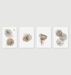 set creative minimalist hand draw floral vector image