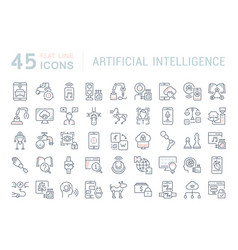 Set line icons artificial intelligence vector