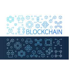 set of 2 blockchain bright line horizontal vector image