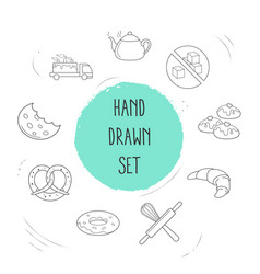 set of bakery icons line style symbols with donut vector image