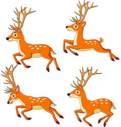 set reindeer cartoon isolated vector image