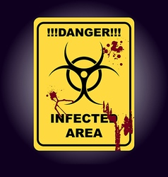 Sign of infected area Zombie zone vector