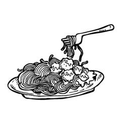 Spaghetti doodle vector