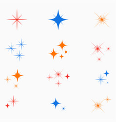 Sparkle stars color glowing light effect signs vector