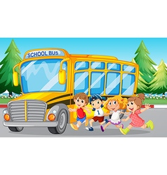 Students and school bus on the road vector