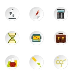 Study of science icons set flat style vector